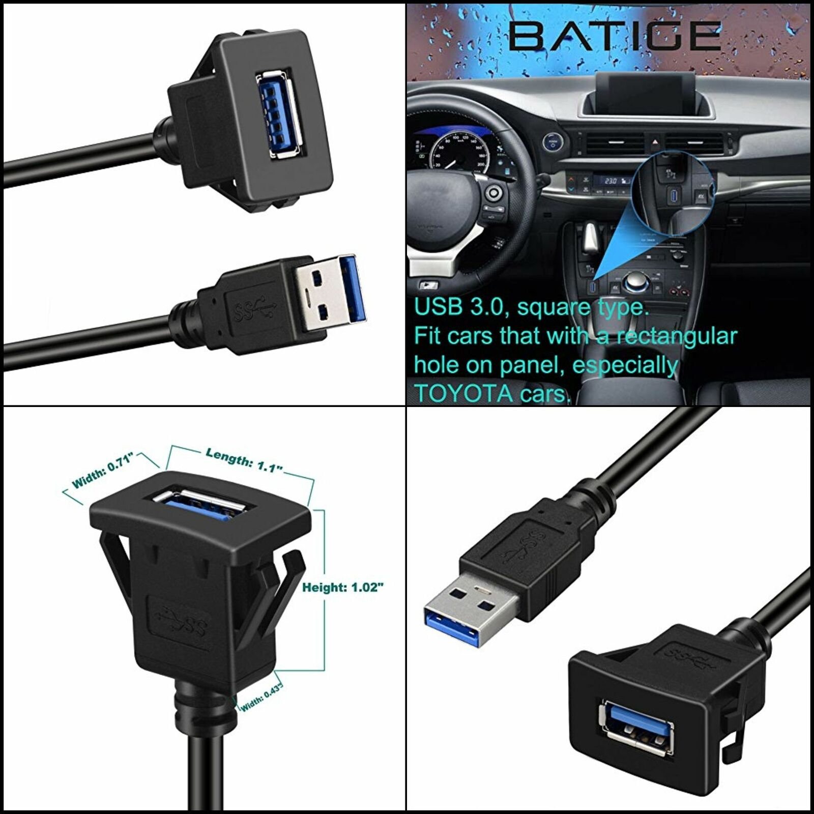 3ft BATIGE Type C 3.0 Female to USB 3.0 A Male and USB 3.0 A Male to Female Dual Port Car Mount Flush Cable Waterproof Extension for Car Truck Boat Motorcycle Dashboard Panel