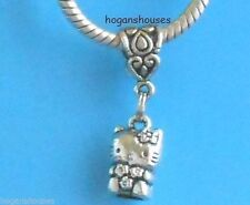 HELLO KITTY ICON CAT 3D SILVER EUROPEAN STYLE CHARM BEAD PENDANT for BRACELET