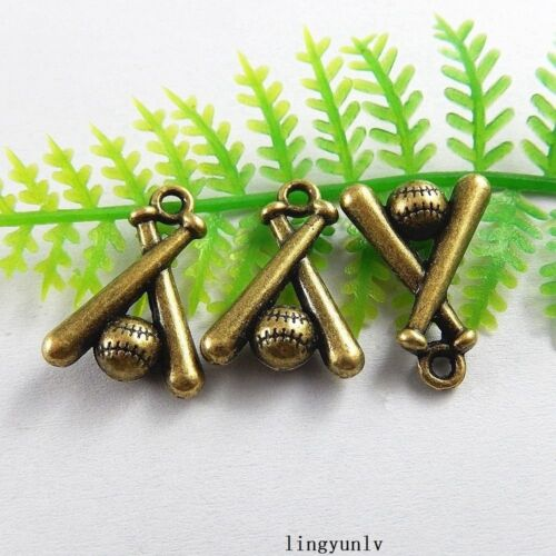 40pcs Antiqued Bronze Alloy Baseball Game Charms Pendant Jewelry Crafts 51229