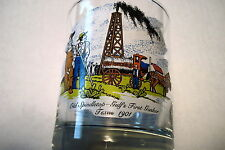 GULF OIL CO. WORLD WAR I YEARS & OLD SPINDLETOP FIRST GUSHER GLASSES (2) USED