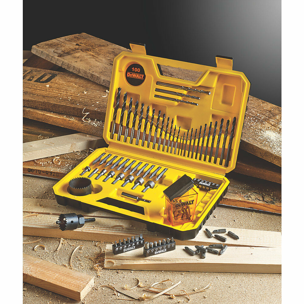 NEW DEWALT COMBINATION DRILL & DRIVER BIT 100 PIECE DRILL SET - FREE CARRY CASE