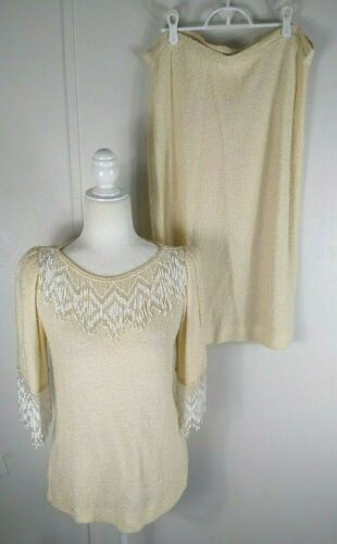 Vintage Womens St Claire Top W Skirt Ivory Beaded