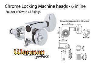 Raisonnable Warman 6 Inline Chrome Verrouillage Tuners, Droitier Guitares/standard Poupée-afficher Le Titre D'origine Saveur Aromatique