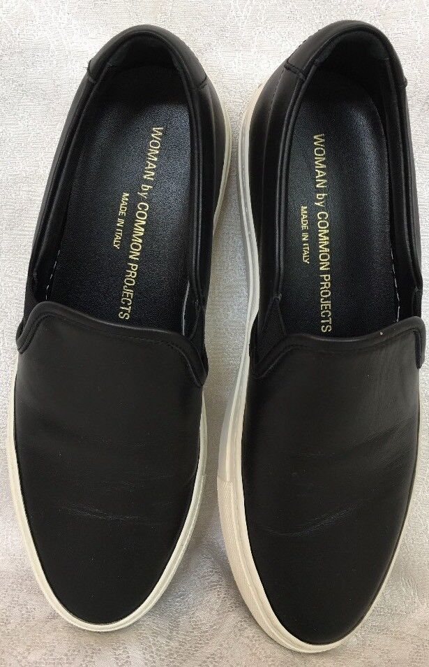 Woman By Common Projects Skater Shoe Black Leather White Sole Size 39