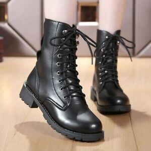 Bottines-Femme-a-Talon-Chaussures-Moto-Style-Britannique-Punk-Gothique