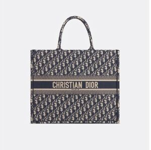 2dab908f264 Image is loading DIOR-BOOK-TOTE-NAVY-EMBROIDERED-CANVAS