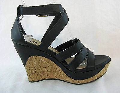UGG Australia Black Leather Dillion Sandal Wedge Shoe Size 6 USA 4.5 UK with Box