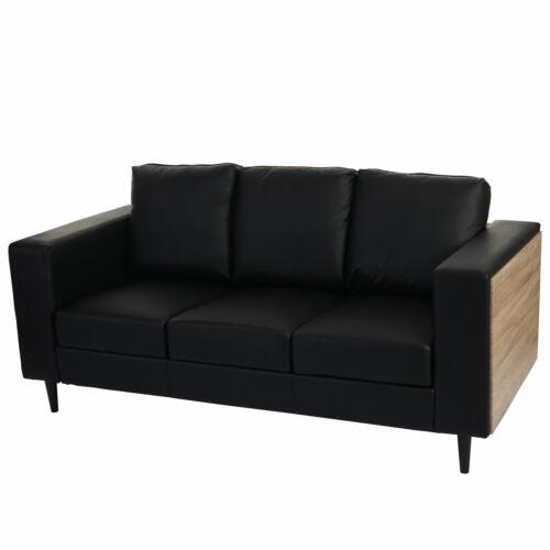 3er canapé Cannes bois chêne-simili cuir synthétique noir canapé loungesofa