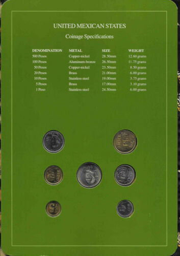 Coin Sets of All Nations Mexico w//card UNC 20 Peso 1985 500,200,50,10,5,1P 1987