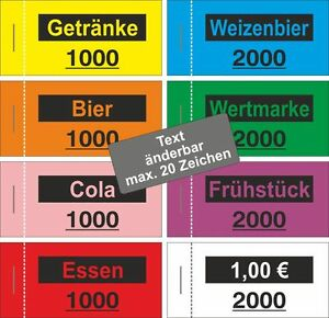 1000 Wertmarken (Text änderbar) Bon Block Wertbon Bons Bierbon