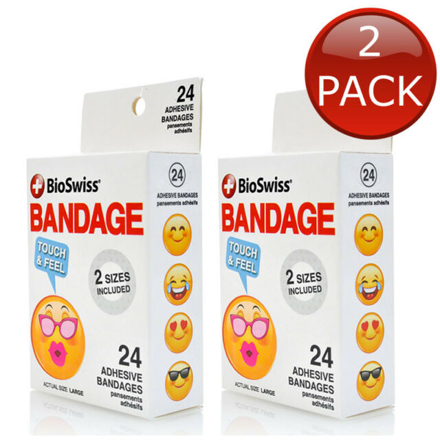 2 x BIOSWISS SMILING FACE TOUCH & FEEL BANDAGE 24 PACK WOUND CUTS FIRST AID KIDS