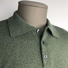 MURANO RAFFI Men's Shirt Green Merino Wool Long Sleeve Polo Made in Italy Sz L