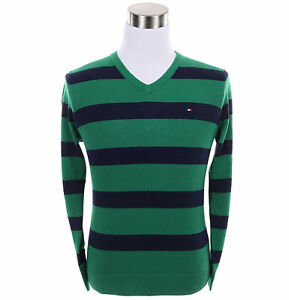 Tommy-Hilfiger-Men-Classic-V-Neck-Stripe-Long-Sleeve-Sweater-Free-0-Shipping