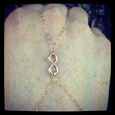 14K Gold Filled Infinity Charm Slave-Bracelet/ Finger-Bracelet ALL Gold Filled