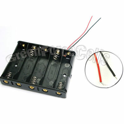 5 pcs 5 AA 2A 14500 Cells Battery Clip Holder Box Case With Wire Lead Black