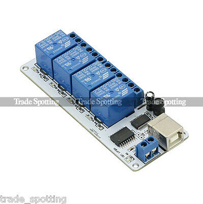 SainSmart 12V 4 Channel USB Relay Module Opto-couple For Arduino Robotics