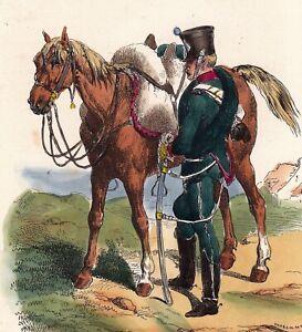 Gravure-XIXe-Chasseur-a-Cheval-Premier-Empire-Napoleon-Bonaparte-Uniforme-1840