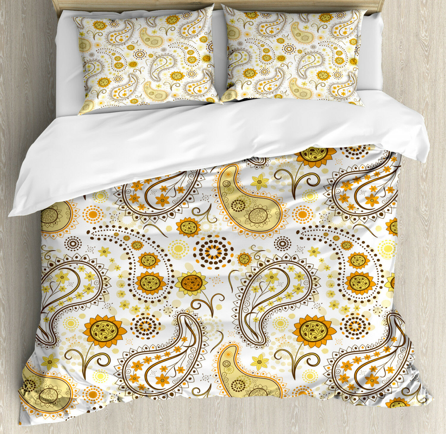 Paisley Duvet Cover Set with Pillow Shams Ethnic Tribal Floral Print