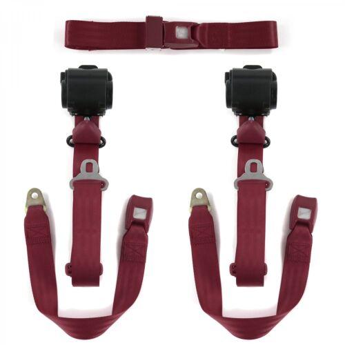 Ford 1955-1956 Standard 3pt Burgandy Retractable Bench Seat Belt Kit 3 Belts