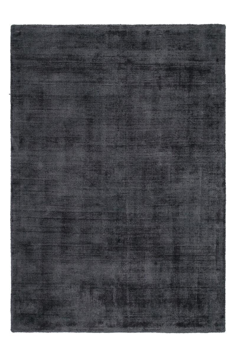 Improvisée Plat Tapis Viscose Uni Tapis Coton Graphite 160x230cm