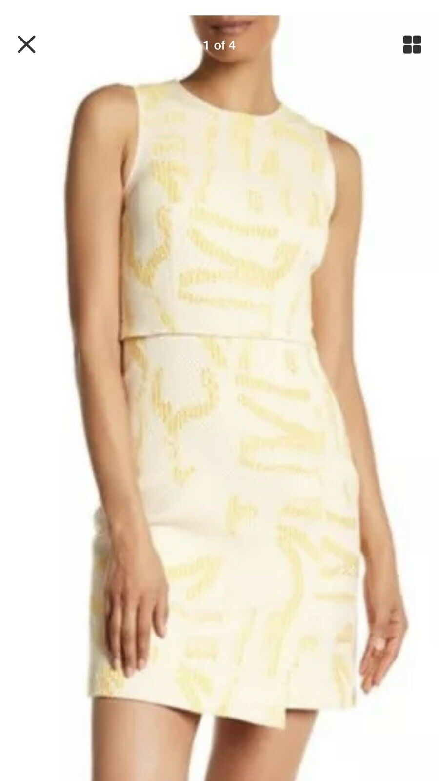 Jason Wu Dress Tweed Bone Multi Gelb Farbeblock Print Dress Woherren 4