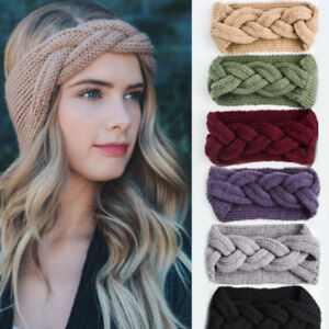 3848eb925b7 Women Braid Cable Knitted Crochet Head Wrap Stretch Wide Headband ...