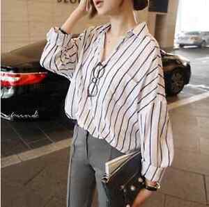 260fa1d6b Image is loading Korean-Fashion-Women-Striped-Loose-Casual-Striped-Button-