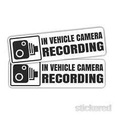 2 x IN VEHICLE CAMERA RECORDING CAR / WINDOW VINYL STICKERS DECALS 120mm x 35mm