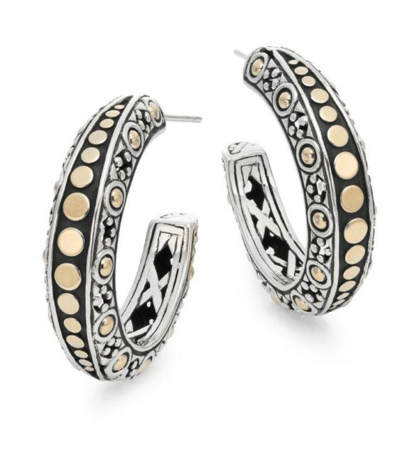 Dot 18k Yellow Gold Sterling Silver Hoop Earrings John Hardy 750
