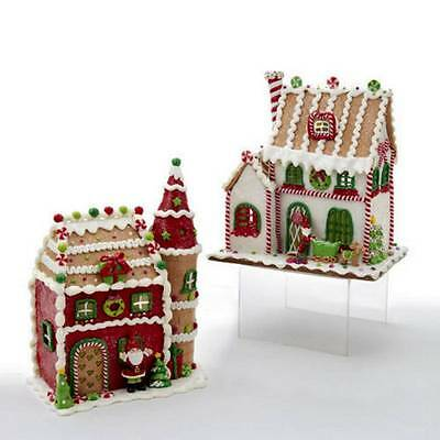 "RETIRED 2 ASSORTED LED 11"" GINGERBREAD HOUSES, ADORABLE,NIB, FREE S/H"