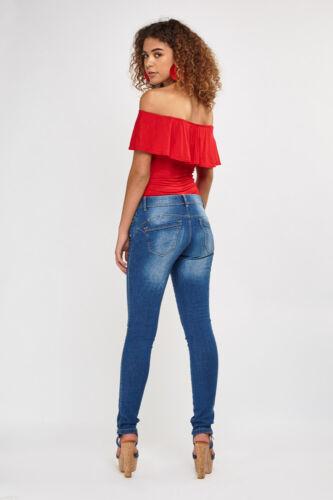 Ladies Low Rise Skinny Jeans Strech Mid Blue Sand wash Denim Jeans