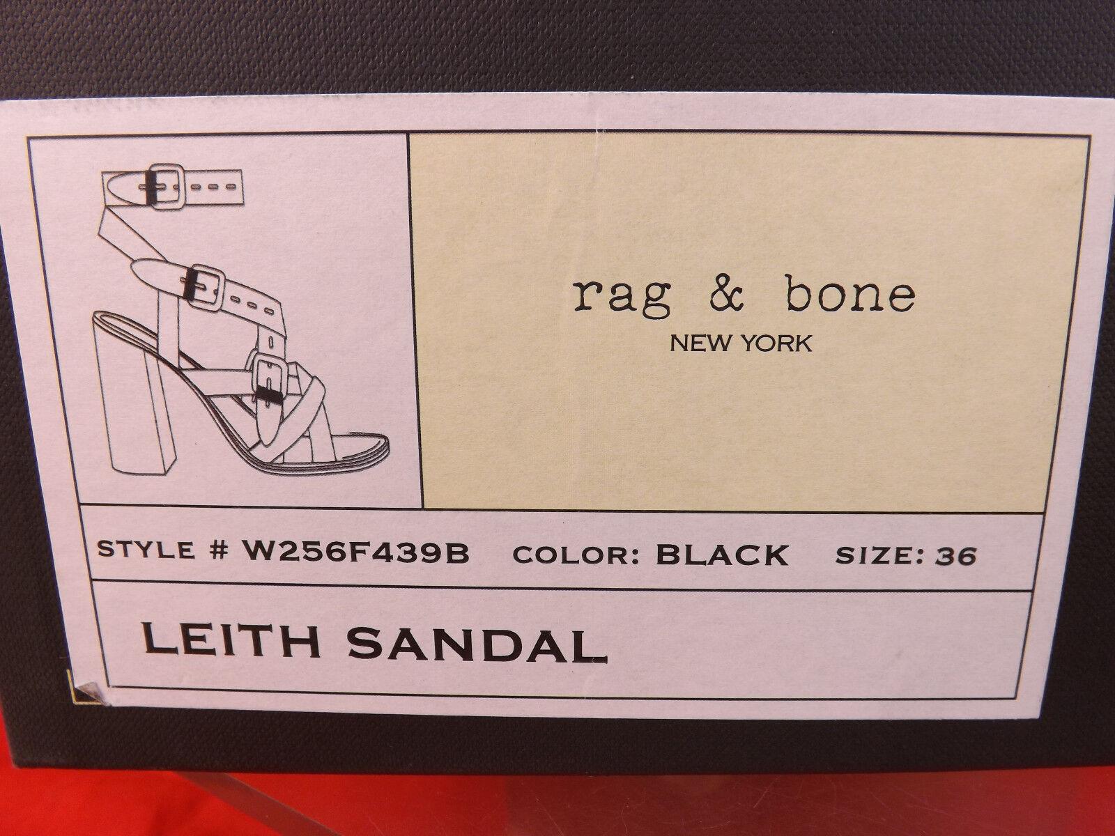 Nuevo En En En Caja Rag & Bone Gamuza Cuero Negro Leith Correas Talón Sandalias 36 Criss Cross 97662a