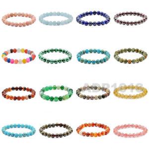 "8mm Grade A Gemstone Round Beads Stretch Bracelet 7"""