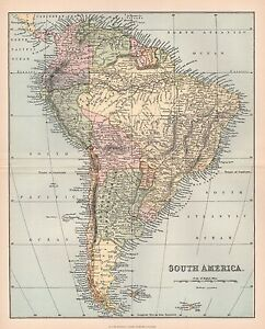Map Of America 1900.1900 Ca Antique Map South America 2 Ebay