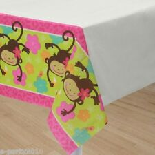 PINK MOD MONKEY LOVE PAPER TABLE COVER ~ Birthday Party Supplies Decoration