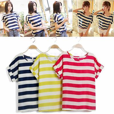 Women Casual Batwing Sleeve Blouse Chiffon Striped Loose Tops T-shirt