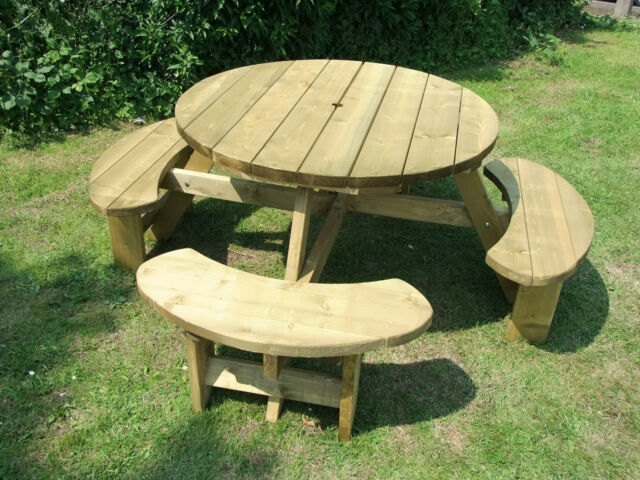 Gentil Round Picnic Table 8 Seat Pub Type Bench 38mm Treated Timber Winchester  Wrb38