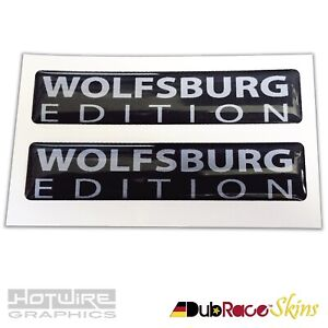 PAIR-of-Wolfsburg-Edition-Badges-Black-amp-Silver-VW-Golf-Camper-Resin-Domed