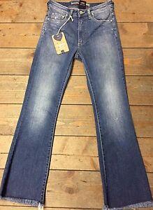 510dec5ac1 Dettagli su Jeans donna Please a zampa con orlo sfrangiato 5 tasche art P27  vita alta strech