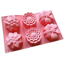 6 Hole Flower Silicone Cookie Cake Chocolate Jelly Mold Baking Bakeware Mould