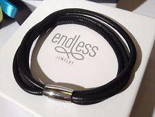 Endless Jewelry 20cm Black Bracelet Triple String Silver Clasp  rrp £45