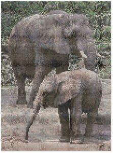 Madre-amp-Bebe-Elefante-punto-de-cruz-kit-por-Florashell