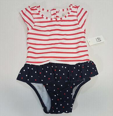 GAP Baby Toddler Girl 18-24 Months NWT White Floral Peplum Ruffle Bathing Suit
