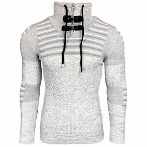 Pull Homme Col Montant Avec Zip Grosse Maille