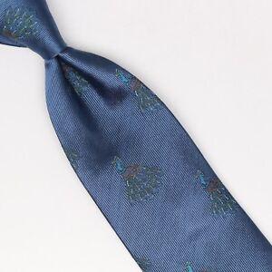 John-G-Hardy-Mens-Silk-Necktie-Blue-Peacock-Macclesfield-Weave-Woven-Tie-Italy