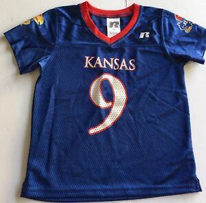 uk availability fc46c 01240 Details about University of Kansas Jayhawks Toddler 4T Football Jersey #9  Rare KU Blue Shirt