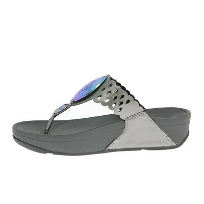 NEW FitFlop Bijoo Pewter Jeweled Thong Size US 9, UK 7, EUR 41, MSRP $99.99