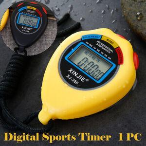 Stoppuhr-Stopp-Uhr-Stopuhr-Digital-Sport-Timer-Uhren-Taschenuhr-Gelb-Schwarz