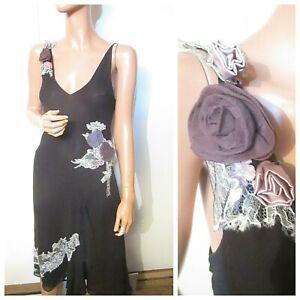 Karen-Millen-UK-12-Black-Silk-Embroidered-Embellished-Party-Dress-Corsage