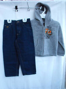 BNWOT-Boys-Sz-2-Fubu-Brand-Blue-Denim-Jeans-and-Grey-Marle-Hoodie-Jacket-Set